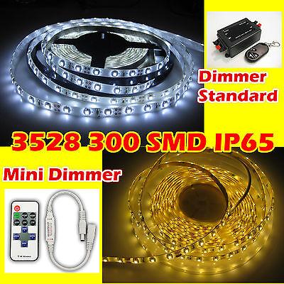 1M - 10M 3528 300 SMD LED Strip Streifen Band weiß warmweiß IP65 Dimmer Trafo