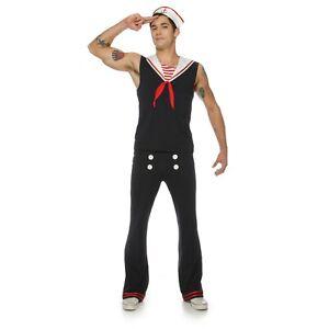 Adult Mens Retro Vintage Style Sea Navy Sailor Halloween Costume Top Pants Hat
