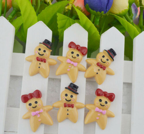 50pcs Gingerbread boy//Woman biscuit resin flatback cabochons 30x24.5mm