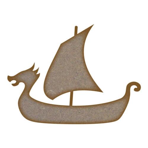 Láser de corte de MDF de barco vikingo Artesanía espacios en blanco en varios tamaños
