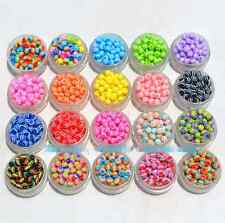Wholesale 50PCS big hole rainbow Stripe  loose bead Resin Spacer Beads 10x11MM
