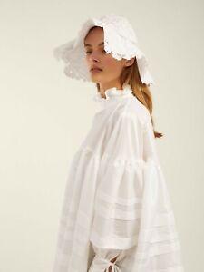 $1090 Cecilie Bahnsen AUTH Pintucked Poplin Macy Flouncy White Dress 6 Oversized