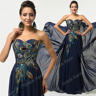 VINTAGE DESIGN PEACOCK Formal Bridesmaid Evening Party Gown Maxi Long Prom Dress