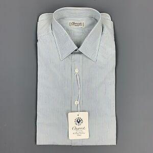 CHARVET-Size-M-Light-Blue-Pinstripe-Cotton-Button-Up-Long-Sleeve-Shirt