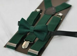 Dark-Emerald-Green-Hunter-Green-Cotton-Bow-Tie-Suspenders-Braces-for-All-Ages