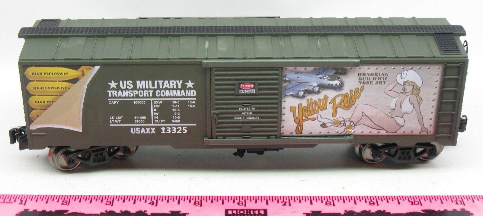 Menards  O Gauge Yellow pink Commemorative Military Boxcar