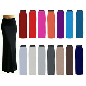 Ladies-Womens-Gypsy-Long-Jersey-Bodycon-Maxi-Dress-Skirt-Ladies-Skirt-Size-8-26