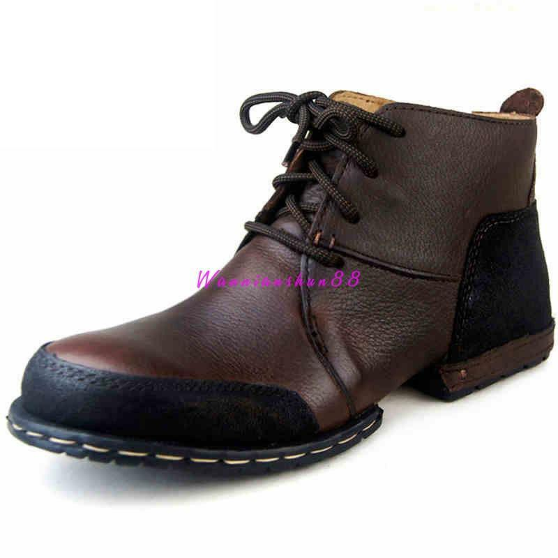 Retrp British Men Chukka Ankle Boots Vintage Leather High Top Outdoor Work shoes