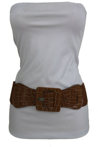 Women Brown Fashion Wide Belt Hip High Waist Elastic Band Square Buckle XS S M