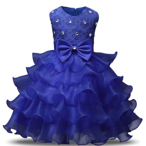 Baby Kids Girl Princess Dress Wedding Bridesmaid Pageant Party Tutu Bow Dresses