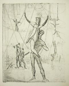 Bon CœUr Gravure Originale C1950 Acrobates De Cirque Dans Le Goût De Picasso Modern Art