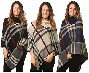 Ladies-Women-s-Tartan-Knitted-Check-Poncho-Cardigan-Jumpers-Top-UK-One-Size-Plus