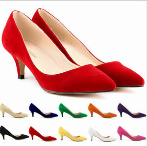 Womens-High-Heel-Pump-Formal-Suede-Pointy-Toe-Business-Court-Shoes-ALL-AU-Sz-9