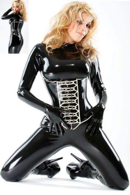 PVC black & white fetish catsuit gloves & underbust corset dominatrix rubber