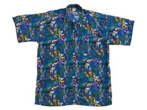 Camicia-Hawaiana-Hawai-Hawaii-Hemd-Viscosa-Blu-Pappagalli-Ananas