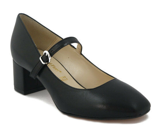 Decollete Comode women con cinturino in Pelle black Tacco Medio Basso 5 cm, MDF