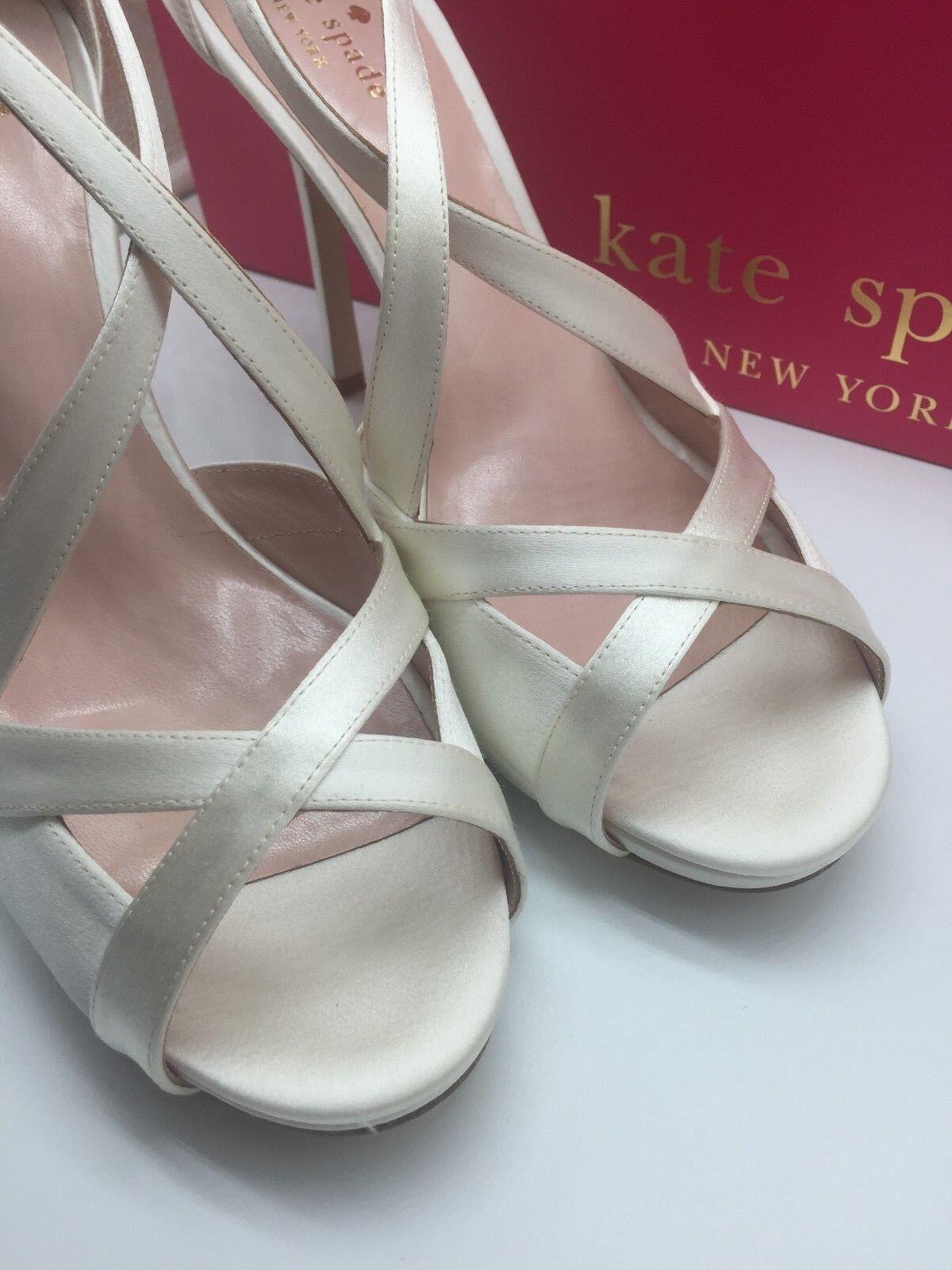 NIB Kate Spade Fensano Größe 10.5 Ivory Satin Strappy Wedding Wedding Wedding Sandals Heels  378 ae44f7