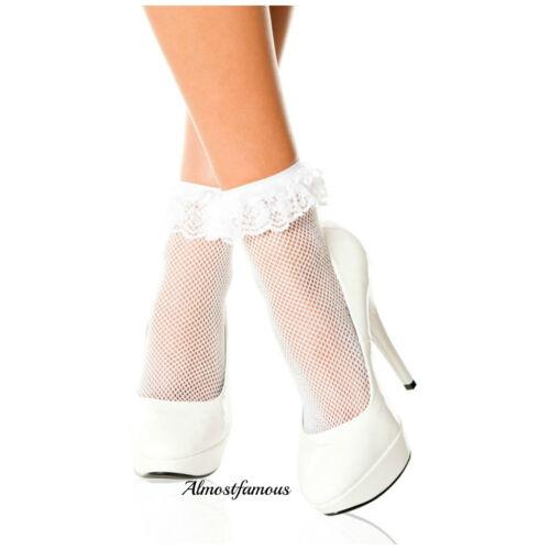 Vintage Spitzen-Rüsche Rüschen Söckchen Mode Damen Weiß Retro UK Lager