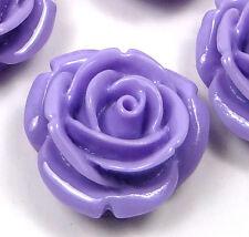 20mm Resin Coral Rose Flower Flatbacks Scrapbooking Cabochons  - Lavender (8)