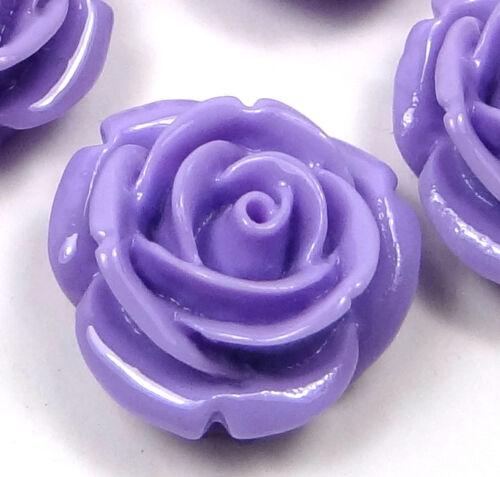 8 Lavender 20mm Resin Coral Rose Flower Flatbacks Scrapbooking Cabochons