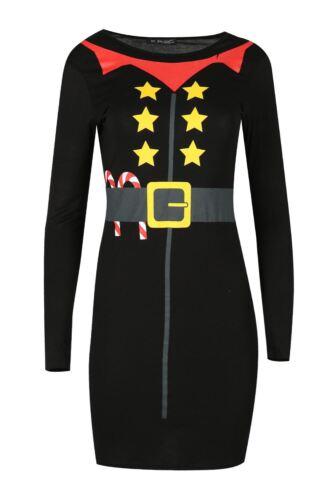 Womens Xmas Naughty Girls Get More Presents Long Sleeve Christmas Bodycon Dress
