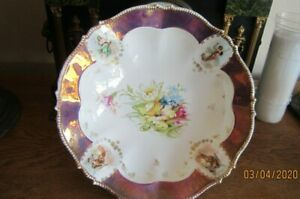 Antique-SAXE-ALTENBURG-Germany-Hand-Painted-Bowl-w-4-Victorian-Ladies-Portraits