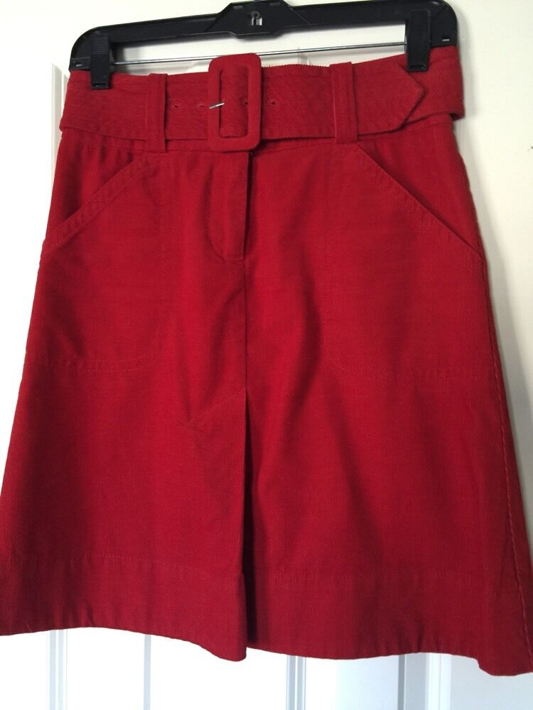 H&M Red Corduroy Skirt With Belt Sz 4