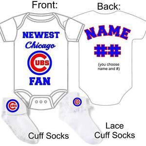 Personalized chicago cubs baseball fan baby gerber onesie socks image is loading personalized chicago cubs baseball fan baby gerber onesie negle Images