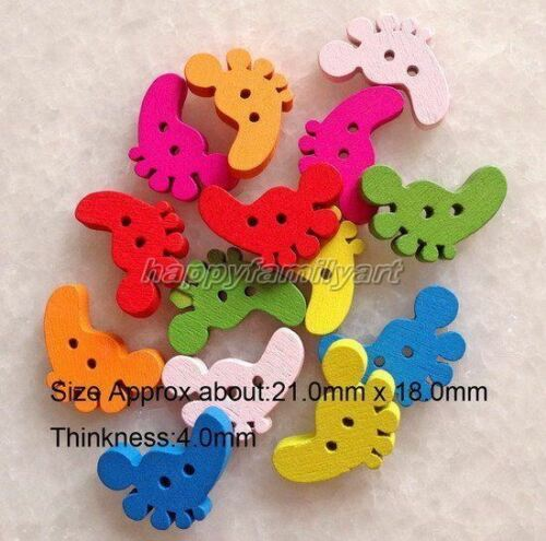 100Pcs Multicolor Footprint Shape Wooden Buttons Fit Sewing Scrapbook ynk003 c