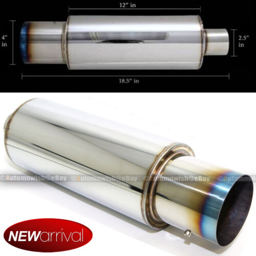 "Fit S10 Weld On 4/"" Chrome Burn Tip 2.5/"" Inlet Muffler Exhaust w// Silencer"