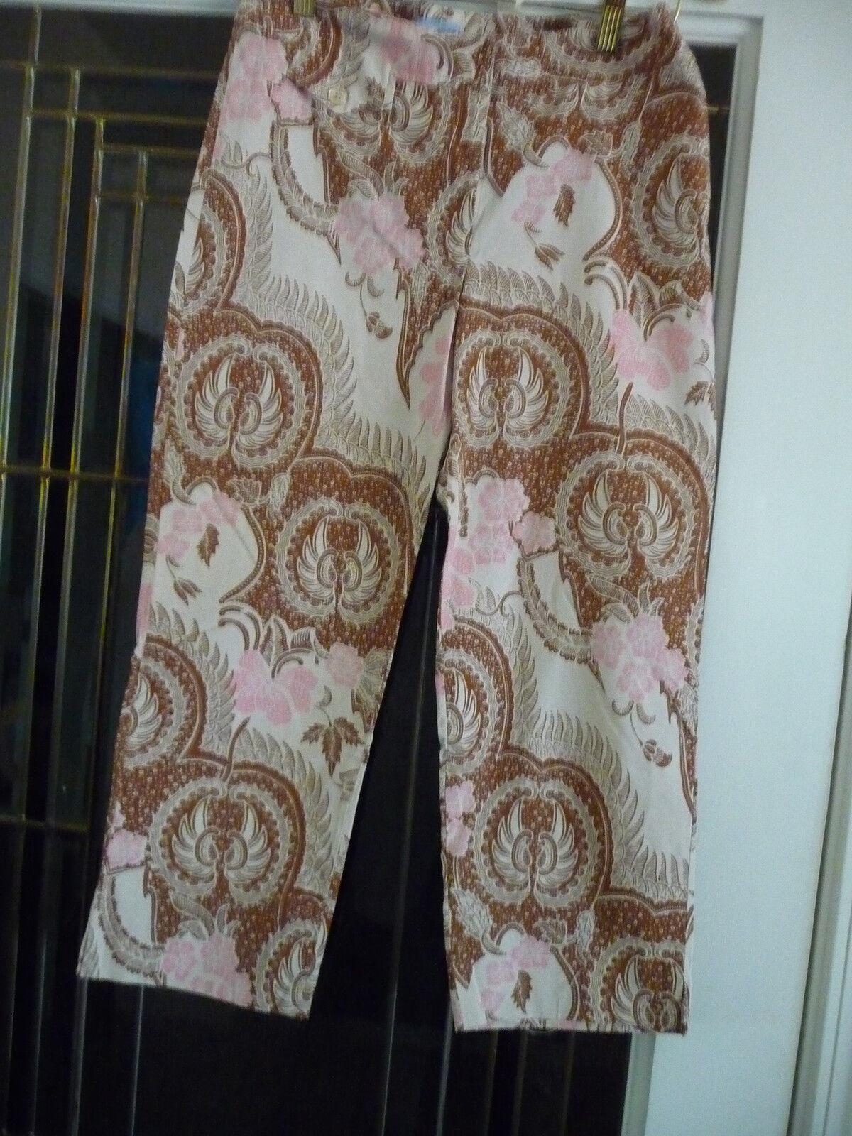 J McLaughlin size 4 cotton spandex brown pink white pants straight legs