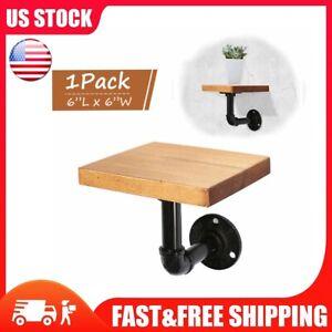 Industrial-Wall-Mounted-Iron-Pipe-Shelf-Bracket-Floating-Shelf-Holder-Board-DIY