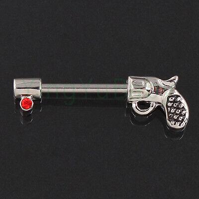Body jewelry Nipple ring Antique Gun Piercing 14mm bars barbell red Nickel free
