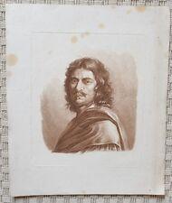 Gravure XVIII à la manière de la sanguine - Portrait de Nicolas Poussin