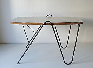 grossiste be36e f9f87 Détails sur TABLE BASSE PIED METAL BOIS FORMICA DESIGN 1950 VINTAGE ATELIER  ANNÉES 50 60