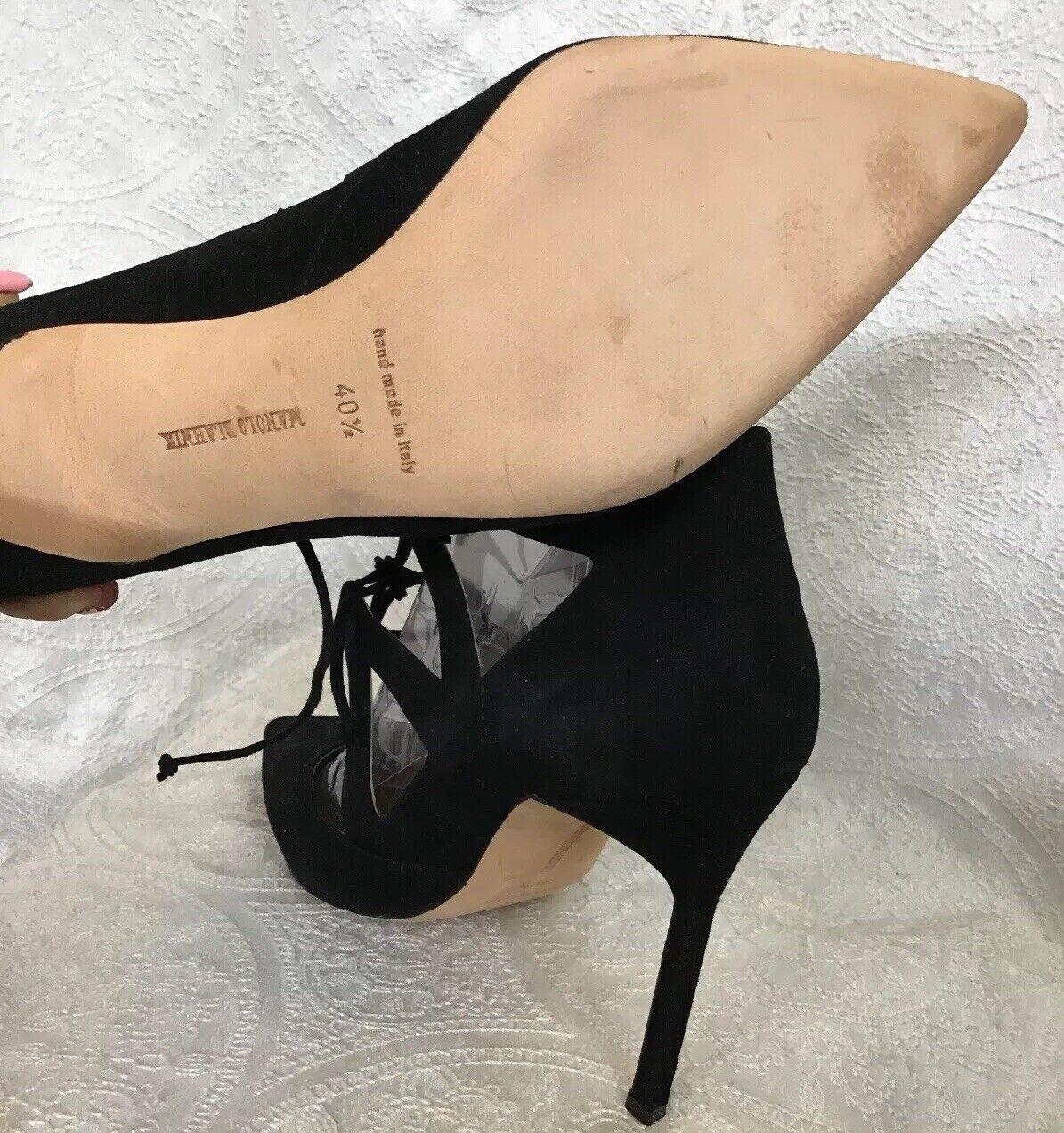 Manolo Blahnik Chaussures en en en daim noir à lacets devant Bout pointu pompe taille 40 1 2 NEUF 03a829