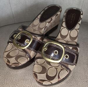 Coach-Gretta-Brown-Canvas-Women-039-s-Signature-Wedge-Heel-Buckle-Detail-Shoe-Sz-8