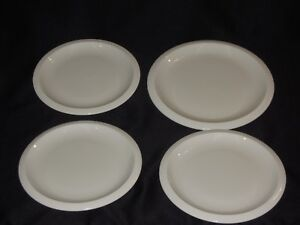 Franciscan-Primary-White-1-Dinner-Plate-amp-3-Salad-Plates-w-Ribbed-Rim-USA