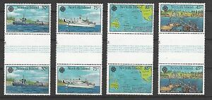 NORFOLK ISLAND # 319-322, MNH WORLD COMMUNICATIONS YEAR, Gutter Pairs