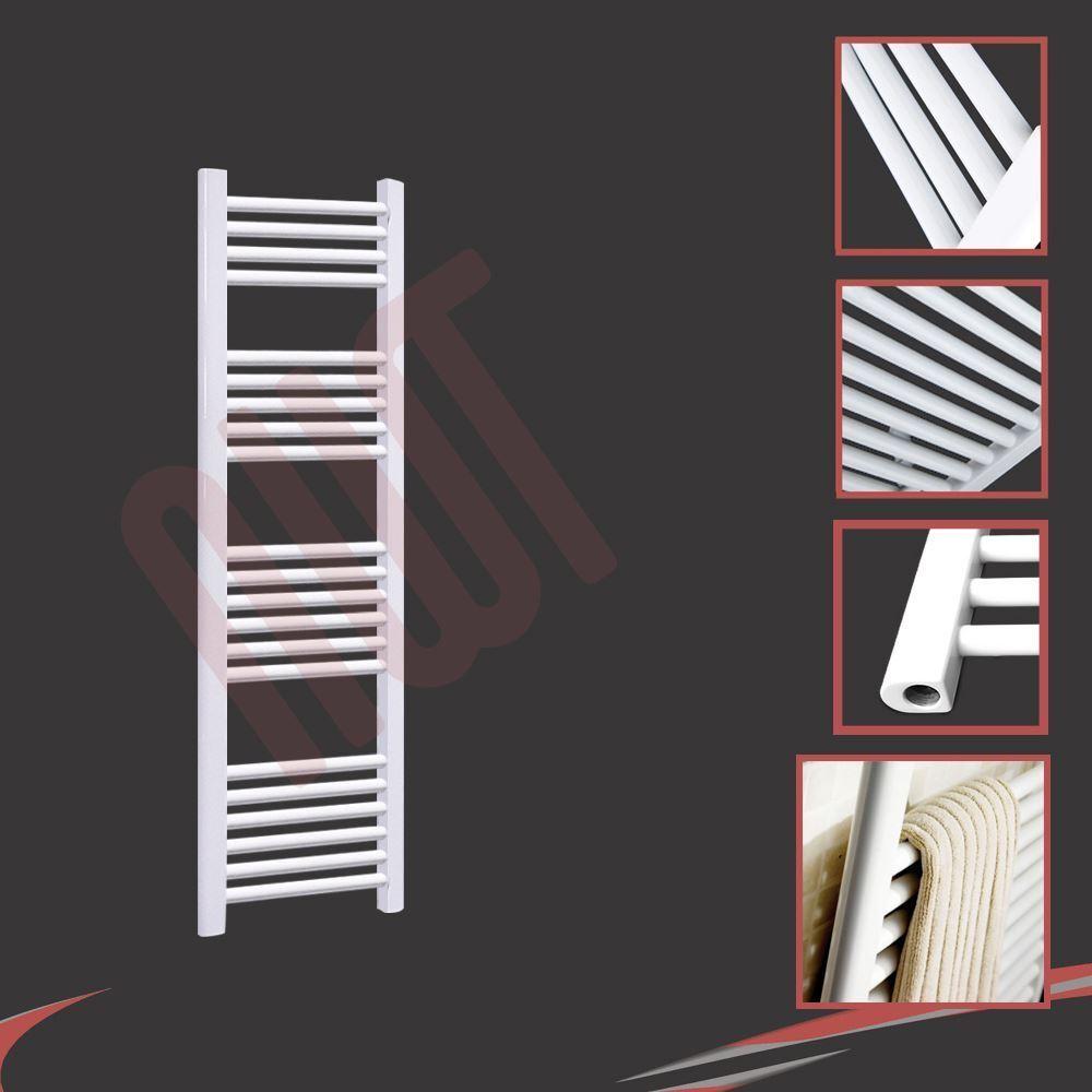 300mm(w) x 1200mm(h) Straight Weiß Heated Towel Rail 1600 BTUs Radiator Warmer