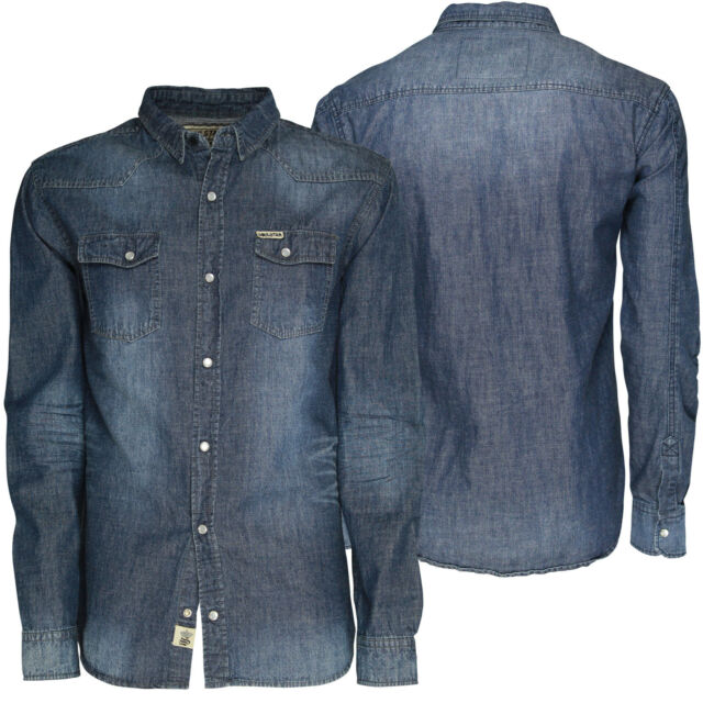 Mens Denim Shirt Soulstar Stylish Casual Denim Wash Long Sleeve Shirt BNWT