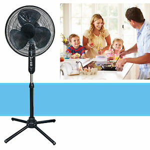 Oscillating-Pedestal-16-Inch-Stand-Fan-Quiet-Adjustable-3-Speed-Black