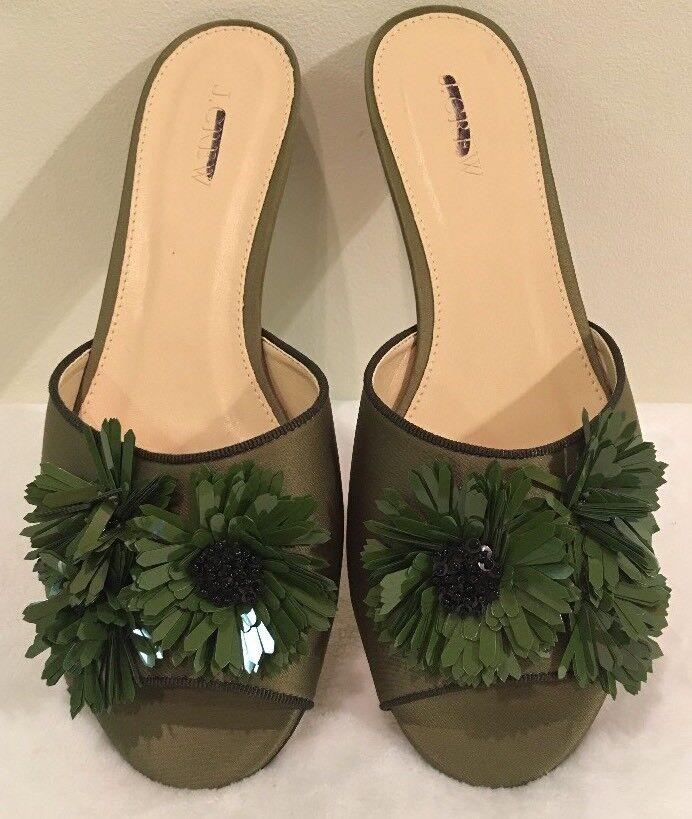 NWOB JCREW $158 Satin slides with floral embellishments Sz9 Tuscan Olive G8895