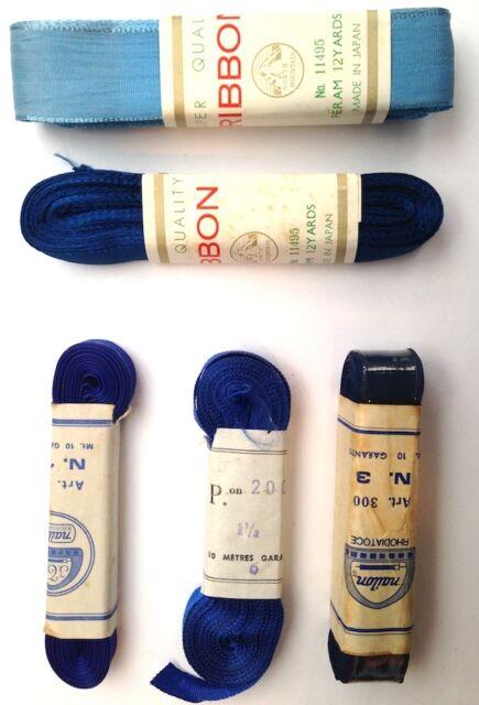 Vintage Blue Ribbon-10m long Choice of colour + width 9mm - 4cm
