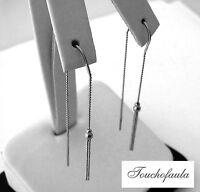 14k White Gold Tassel Design Threader Earring High Polished 1.5 Grams Adorable