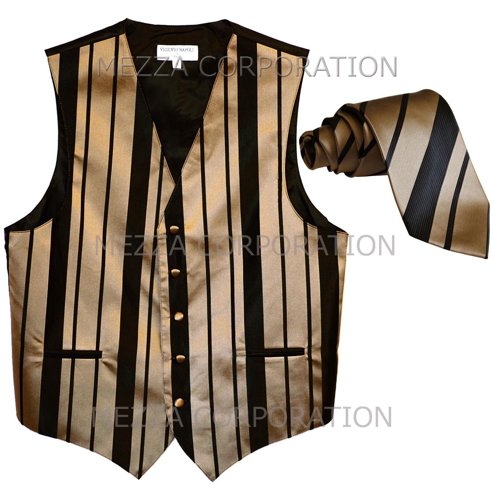 New Men's Tuxedo Vest Waistcoat Stripes Necktie prom wedding party Black Mocca