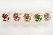 Wholesale lots Jewelry 10Pcs Flower Rhinestone Gold Plated Woman Gift Rings FREE