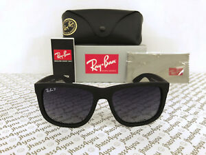 1f26ded0038e64 Ray-Ban Justin POLARIZED RB4165 622 T3 Wayfarer Matte Black Grey ...