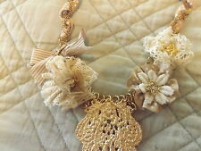 """NEW VICTORIAN GOLD NECKLACE 21"""" CROCHETED LACE RIBBON DAVIDS BRIDAL RET$50"""