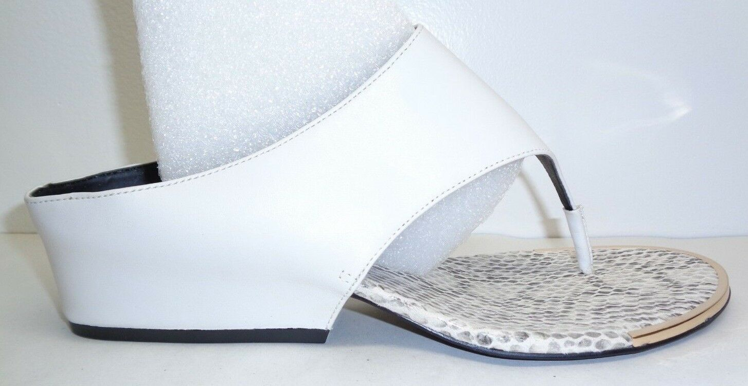 Calvin Klein Größe 7.5 M CIARA WEISS Leder Wedge Heels Sandales NEU Damenschuhe Schuhes